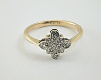 18ct gold art deco diamond ring size K 1.82g made 1920's