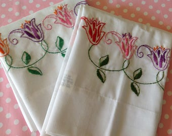 NOS Pair of floral embroidered pillowcases, vintage flower pillowcases, shabby chic, cottage, farmhouse, new and unused