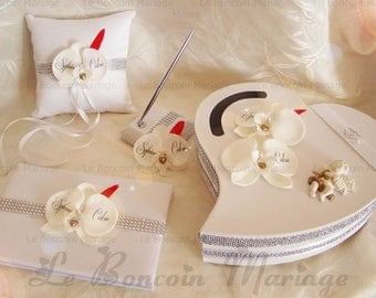 Wedding guestbook, pen, urn and holder Angel, feathers, heart and rhinestones to customize color choice