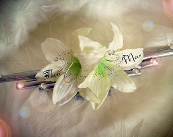 Wearing silver bamboo wedding band, diamonds and white lily like to customize