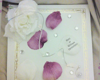 Guestbook white with pink artificial, diamond, pearls and petals to customize aluminium wire