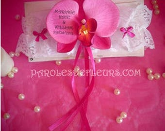 Fuchsia Orchid garter to be personalized