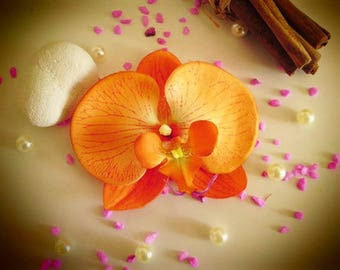 orange Orchid hair clip