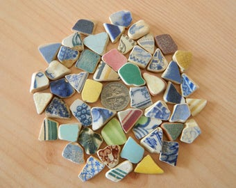 50 Pottery shards in assorted colours for crafts