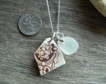 Beautiful Vintage pottery shard and sea glass Sterling silver necklace