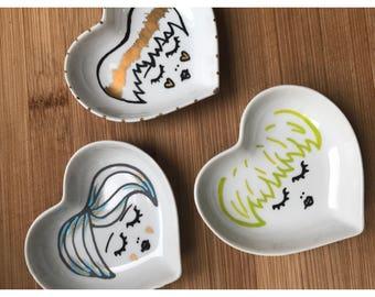 Tiny heart shaped ring dish