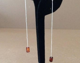33% Off Christmas in July Sterling Silver And Amber Long Dangle Earrings