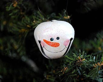12 SNOWMAN Jingle Bell Ornaments - perfect embellishment for gifts bows, wreaths, garlands