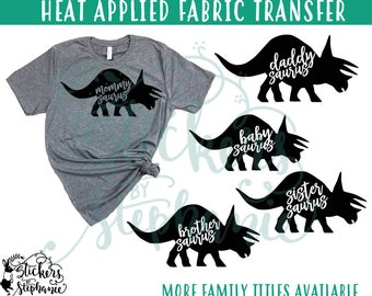 IRON ON v244-D3 Trike Triceratops Rex Daddy Mommy Brother Sister Baby Heat Applied T-Shirt Transfer *Color Choice in Notes or BLACK Vinyl