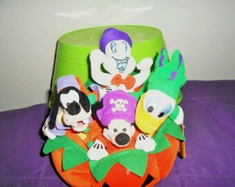Disney Bean Bag Plush Halloween Pumpkin With Goofy, Mickey, Donald, and Surprise! Casper the Friendly Ghost!/Rare Set Limited Edition.