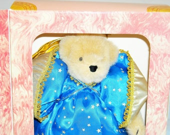 """SALE! 23.99! Muffy Vanderbear """"Angel""""/1989 special limited edition with COA on inside cover/nrfb/beautiful in shiny satin blue star costume!"""