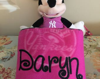 Baseball NY Yankees Cheerleader Fleece Throw Blanket & Minnie Hugger - Personalized