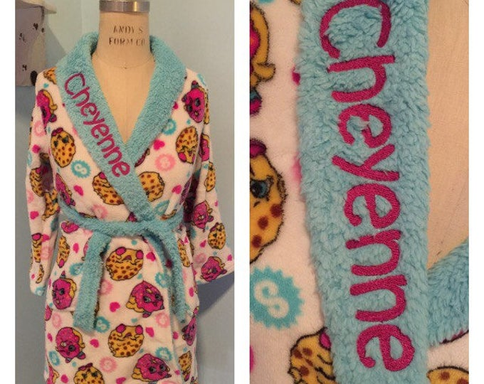Girls 6-12 Shopkins D'Lish Donut & Kooky Cookie Pattern Plush Robe - Personalized Monogrammed Girls 4-12