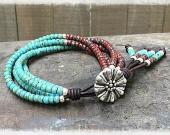 Seed Bead Leather Wrap Bracelet/ Beaded Leather Wrap/ Seed Bead Leather Bracelet/ Boho Wrap Bracelet/Bohemian Bracelet/ Seed Bead Bracelet**