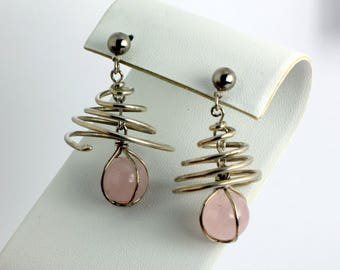 Pink Quartz and Silver Dangle Earrings with Round Pink Quartz Falling Through the Center of a Sterling Silver Spiral Swirl