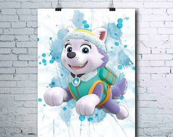 Paw Patrol Birthday - Everest - Paw Patrol Party - Everest Poster - Everest Printables - Everest Print - Everest Wall Art