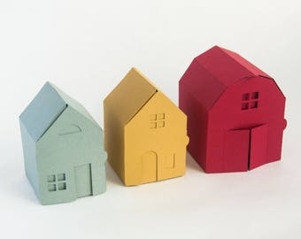 Village Papercraft Kit: Make your own tiny paper houses and barn - Paper Gift Boxes, Tiny Paper House, Gift for Her, Gift for Him