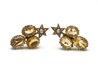 Victorian Citrine and Pearl Earrings