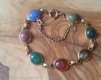 Vintage Burt Russell 1/20 12k Scarab Bracelet with 7 Semi Precious Scarab Beetles Small 6 1/2 inch