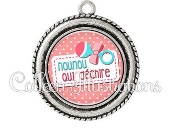 Cabochon pendant 25mm nanny tearing toy rattle - series 13