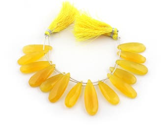 2 Strands Yellow Chalcedony  Long Pear Drops Briolettes - Chalcedony Beads 31mmx12mm-37mmx12mm 7 Inches SB537