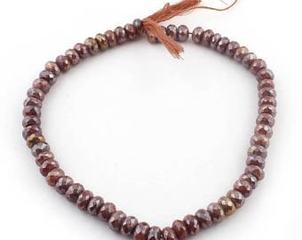 Valentines Day 1 Strand Chocolate Moonstone Silver Coated Faceted Rondelles - Roundle Beads 9mm 14 Inches SB2564