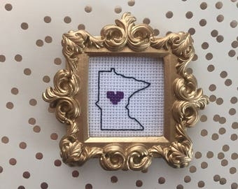 Purple One Minnesota Cross Stitch - Valentine gift