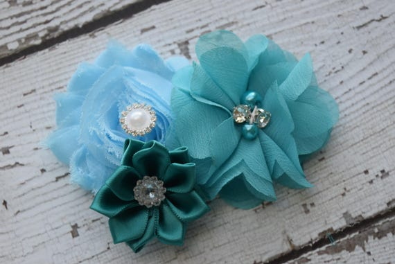 Teal blue Flower Baby clip, #3,Newborn clip,  Infant Headband,Baby Headband, Headband Baby, Baby Headband, baptism  headband