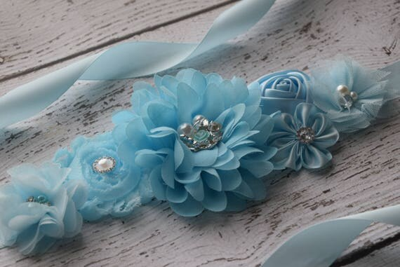 Maternity Sash, Baby blue ocean Sash,#2, flower girl sash, flower Belt, maternity sash belt, blue sash