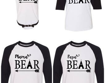 Matching Family Baseball Tops~ Mama bear, papa bear, baby bear, sister bear, brother bear, family shirts,