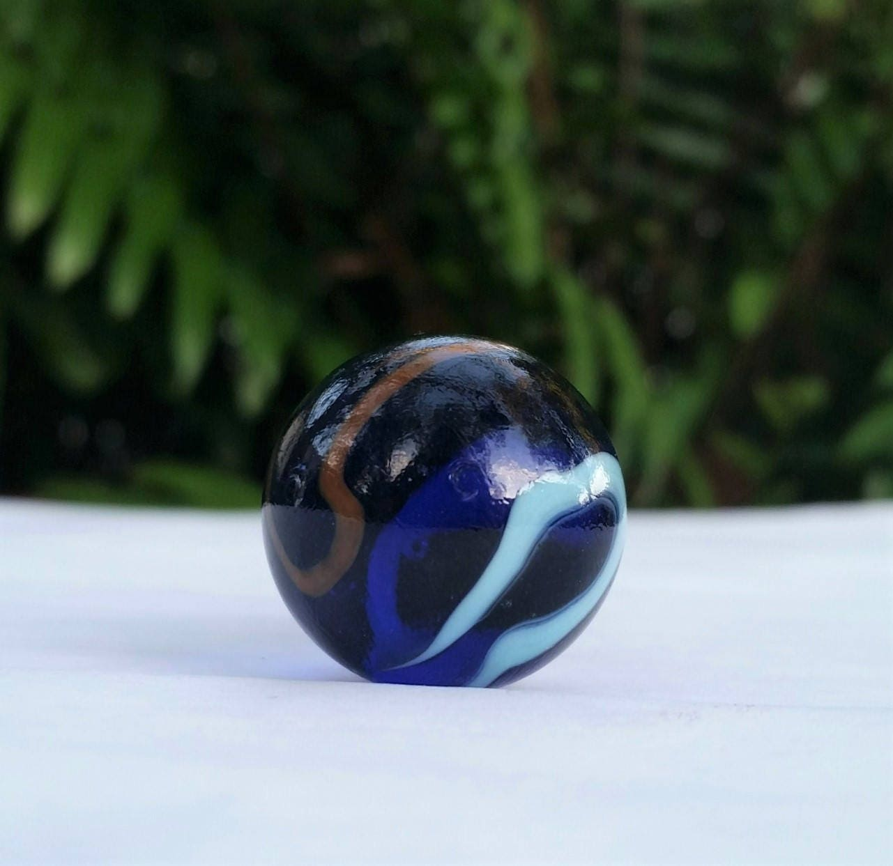 Baby Blue Marble : Lamp finial cobalt blue red baby glass marble