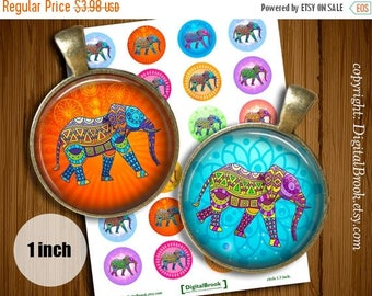 SALE 50% Ethnic Elephants Digital Collage Sheet 1inch 25mm Printable Circles Download for pendants magnets bottle cups Cabochons - 113