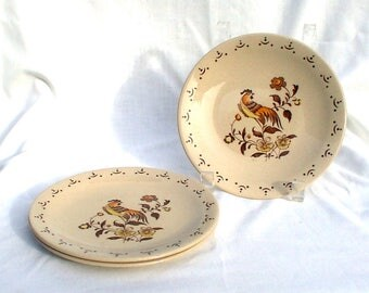 "THREE Johnson Brothers Sun Up 6 3/8"" Vintage Plates Bread Dessert Rooster Bird"