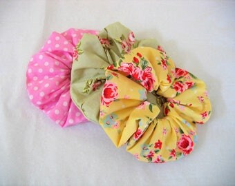 Hair Scrunchies/Retro Hair Accessories/Floral Hair Scrunchies/Yellow hair Scrunchie/Green Hair Scrunchie/Pink Polka dot Hair Scrunchie