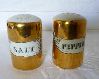 """Fornasetti Italy Salt and Pepper Pot Gold and Classical Motif 2 1/2"""" 6cms"""