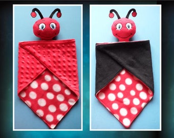 Ladybug Lovey, security blanket. Ready to ship.