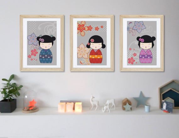 Deco Chambre Kokeshi : Affiches kokeshi fille chambre d enfant affiche
