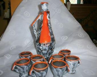 Original Vallauris Vintage Liquor Set, Fat Lava Glaze, decanter, jug, pottery, ceramics, French retro, drinks set, cups, apéritif,