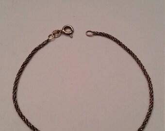 Vintage Sterling Silver Rope Chain Bracelet