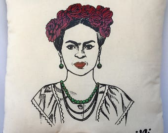 Frida Hand Painted Decorative Pillow Case. Frida Double Sided Papel Picado Pillow Case.