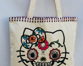 Kitty Cat Day if the Dead Hand Painted Tote Bag. Cat Natural Canvas Tote Bag. Cat Kitty Canvas Bag. Gift Friendly
