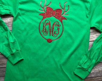 Christmas Reindeer Monogrammed Long Sleeve Shirt for Youth or Adult