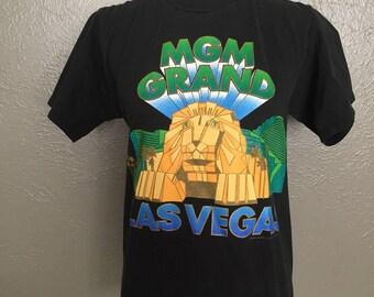Old School MGM Grand Las Vegas Hotel Tee Shirt Black Gold Lion Small Rad
