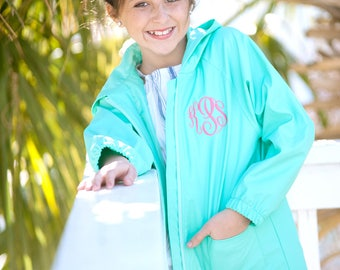Kids Monogrammed Rain Coat - Mint, Navy, Pink & Black - Rain Jacket - Monogram Gift for Child