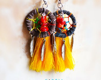 Dream catcher earrings dreams, feathers and tassels