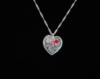 Handcrafted Silver Heart Necklace w/Swarovski Crystals