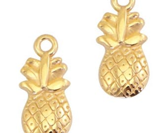 "DQ Metal Pendant ""pineapple"", Charm-2 pcs.-Zamak-color selectable (color: Gold)"