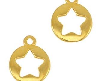 """DQ Metal pendant, charm """"Stern""""-3 pcs.-12 x 10 mm-Zamak-color selectable (colour: Gold)"""