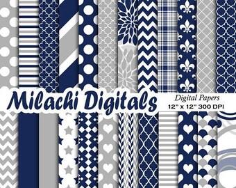60% OFF SALE Navy Blue and Gray digital paper, patterns, scrapbook papers, wallpaper, digital scrapbooking, background - M579