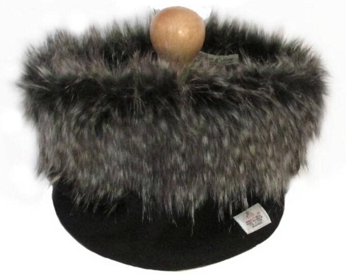 Harris Tweed Jet Black Pure Wool Cowl Neck Scarf with Luxury Faux Fur Trim